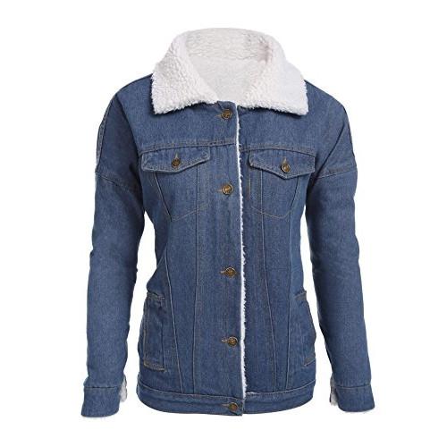 2136b78888c CNlinkco Women s Winter Cotton Thicken Lambs Wool Denim Jacket Loose Jean  Coat Outerwear
