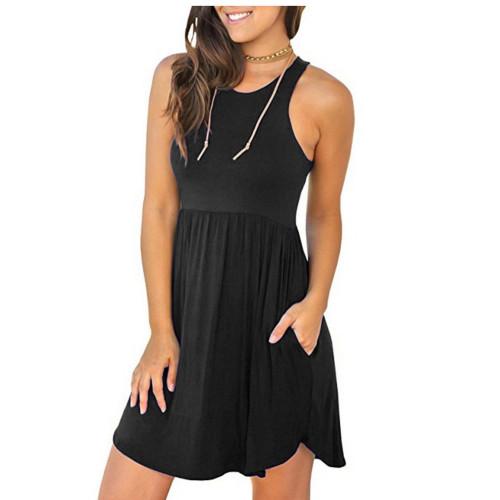 e5cfcba01861 Melansay Women s Sleeveless Racerback Loose T Shirt Dress Casual Summer  Dresses with Pockets Navy