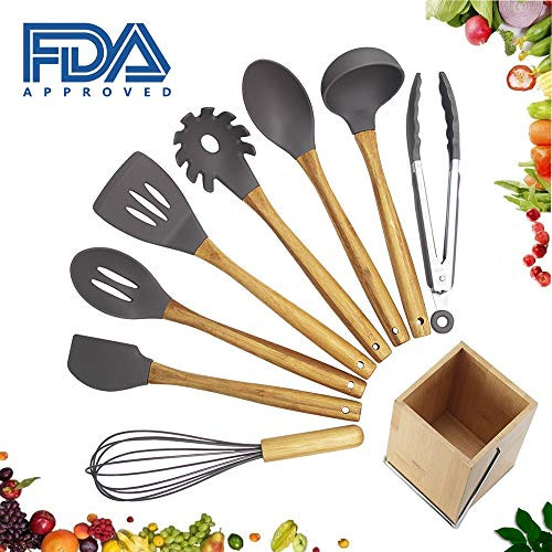 Snagshout 9 Pieces Cooking Kitchen Utensil Set With Holder Silicone Head Bamboo Handle