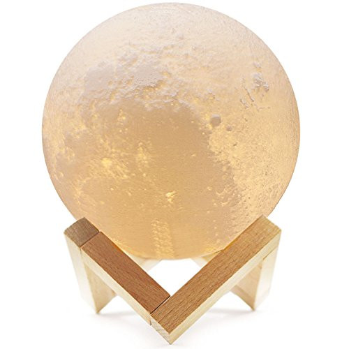 Bonnevie Moon Lamp LED Night Light 5 9IN Stepless Dimmable 3D Print Home  Decorative Light with Magnetic Wooden Stand with USB Charging and Touch