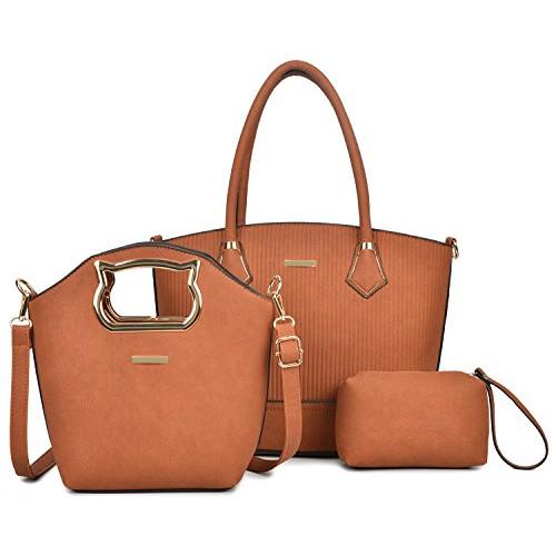 39a6543b0e Women Handbag Purse Hobo Faux Leather Messenger Bag Clutch Satchel Bag 3  Piece Gift Set (Brown-3)