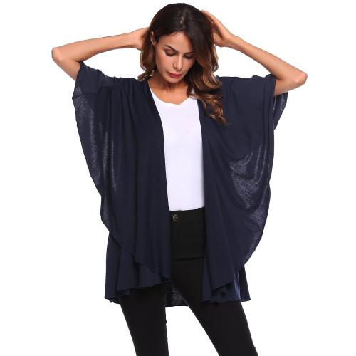 ec1a920001c50 ELESOL Women s Casual Sleeveless Draped Open Front Sheer Kimono Cardigan  Capes Navy Blue S
