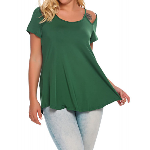 ba2cfa1e597c12 Zeagoo Womens Plus Size Tunic Tops Criss Cross V Neck Short Sleeve T Shirt  Casual Tops