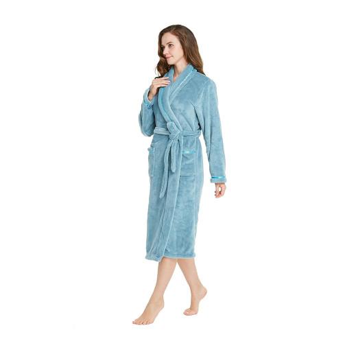 e7133160f6 TIMSOPHIA Women Soft Fleece Robe with Satin Trim- Long Robes for Women Warm Robe  Plush (Turquoise