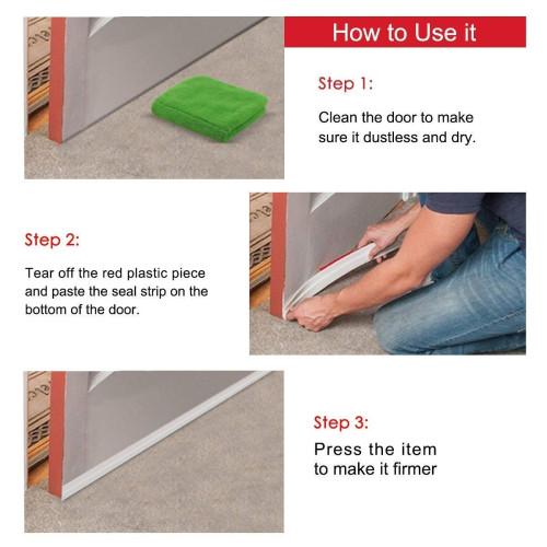 Door Draft Stopper, Under Door Draft Blocker Insulator Door Sweep Weather  Stripping Noise Stopper Prevent Bugs(White 2
