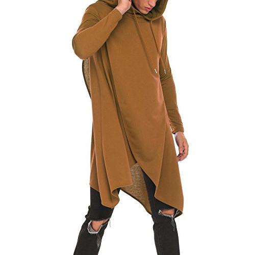 OOFANDY Mens Casual Hooded Poncho Cape Cloak Irregular Hem Hoodie  Pullover,Coffee,Medium