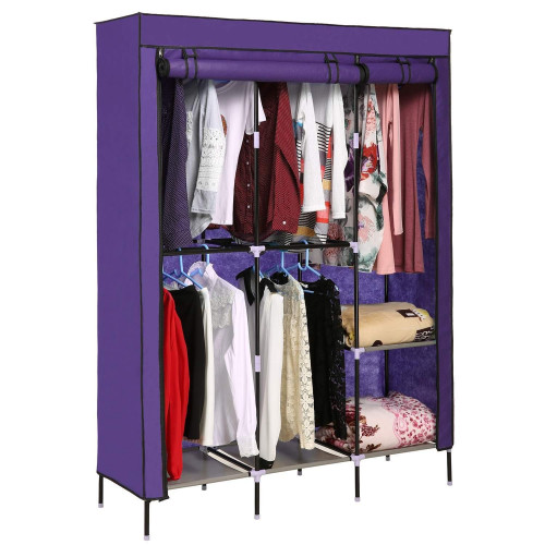 Gonikm New Portable Clothes Closet Wardrobe Double Rod Storage Organizer Clothing