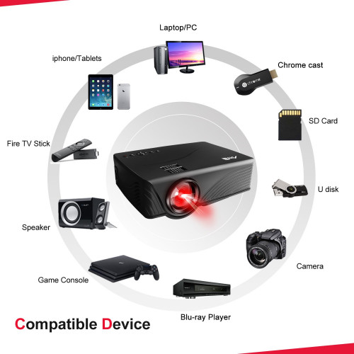 Portable Projector, Artlii Home Movie Projector LCD Video Projector for  iPhone Smartphone Ipad Laptop Support 1080P for Home Entertainment, Movie  or