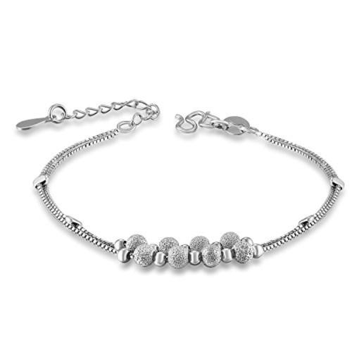 14541adde87 925 Sterling Silver Frost Beaded Link Bracelet