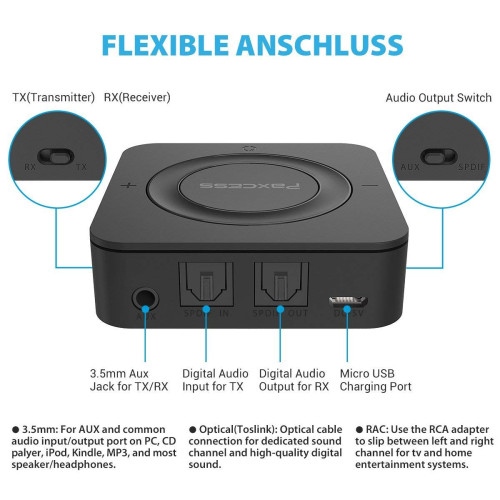 Bluetooth Transmitter and Receiver, Paxcess 2 in 1 Wireless Audio Adapter  Digital Optical Toslink and 3 5mm Aux Adapter (aptX Low Latency) for TV,